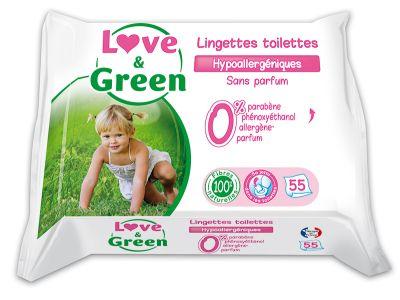 SALVIETTE BIODEGRADABILI SENZA PROFUMO 55 pz Love&Green