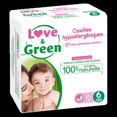 34 PANNOLINI - LOVE&GREEN TAGLIA 6 +15 KG
