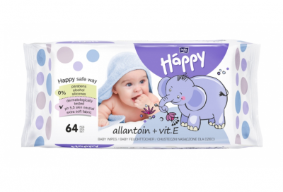 SALVIETTE ALLANTOINA E VITAMINA E 64 pz Happy