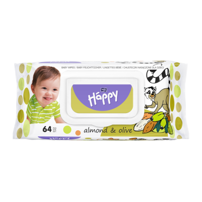 SALVIETTE BABY MANDORLA e OLIO D'OLIVO 64 pz Happy