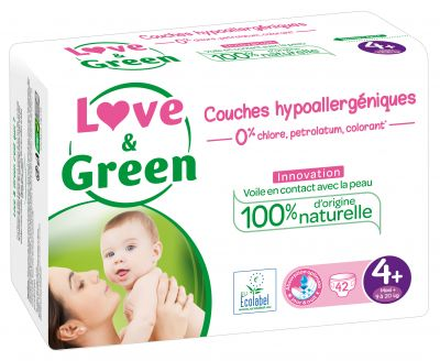 PANNOLINI TAGLIA 4+ MAXI+ 9/20 KG Love&Green