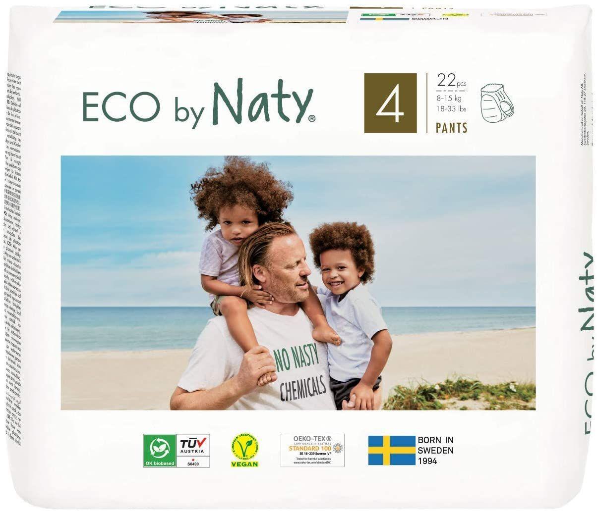 Eco by Naty 4-9kg 100 pannolini Pannolino ecologico premium a base vegetale con lo 0/% di plastica a base di petrolio sulla pelle. Taglia 3
